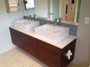 Double sink custom bathroom remodel Encinitas, CA