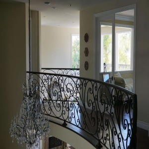 Wrought iron baluster railing second floor