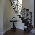 Side view of radius staircase built by Carlsbad general contractor DM Build
