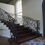 Mediterranean staircase with Wrought Iron newel
