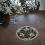 Chandelier view from top tile mosaic