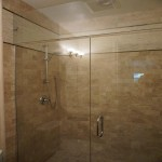 Modern shower with frameless glass doors