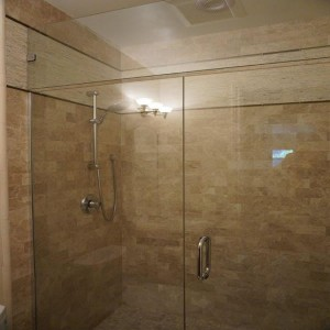 Modern shower with frameless glass doors