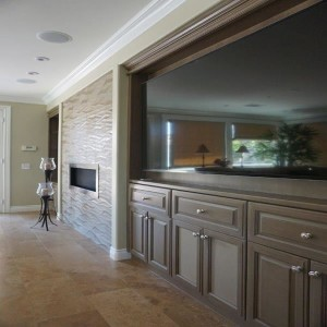 Custom built-in entertainment center home remodel and addition in North San Diego County