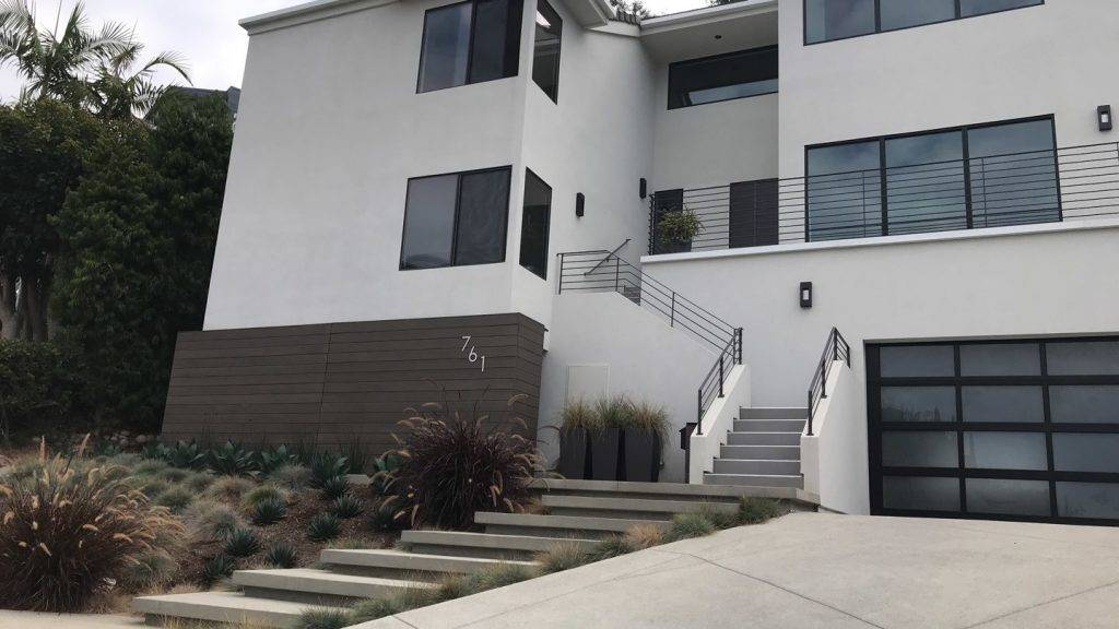 La Jolla New Residence outside view staircase and paver walkway