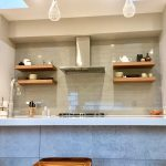 new residential build contemporary kitchen glass tile backsplash