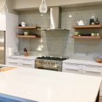 new residential build contemporary kitchen glass tile backsplash stainless steel floating shelves